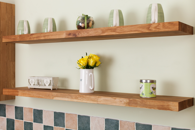 Solid oak wooden floating shelves 600mm x 200mm x 30mm for 200mm kitchen wall unit
